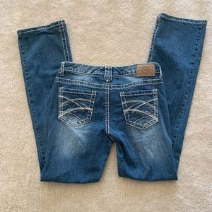 Maurice's distressed bootcut jeans size 9/10
